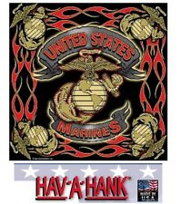 *USA MADE UNITED STATES MARINE CORPS Flames BANDANA HEAD WRAP HANKY Scarf USMC