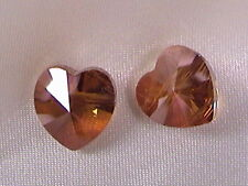 2x SWAROVSKI CRYSTAL 10mm HEART BEADS, COPPER EFFECT COLOR, SIDE HOLE
