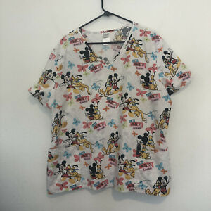 Disney Mickey Mouse And Pluto I Love My Best Friend Scrub Top Size 2X/2XG