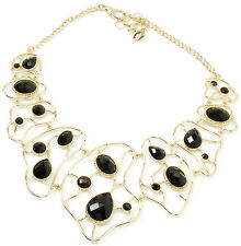Amrita Singh Sag Harbor Black Resin Large Bib Gold Tone Necklace NKC 717 NWT