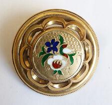 Broche bijou régional en métal doré et émail 19e siècle