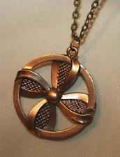 Handsome Openwork Textured Whirly-Gig Wheel Brasstone Circle Pendant Necklace