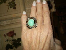 VINTAGE 1950s PERSIAN TURQUOISE DIAMONDS GOLD 18k RING 16,6 gr*SIZE 8 / 55