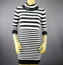 Sequin Hearts Striped Turtleneck Mock Sweater Dress Womens Small Black White D1