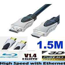 HDMI Cable v1.4 3D High Speed with Ethernet HEC Full HD 1080p Gold Plated -1.5M