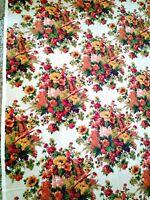 """Vtg Barkcloth Like Heavy Fabric 54"""" W Floral Design by 3.3 yards L"""