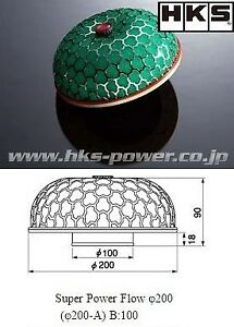 Genuine HKS Air Filter PowerFlow - Universal 200mm filter (100mm throat)
