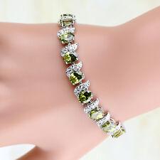 "6mmx8mm Oval Green Peridot Cubic Zirconia White Gold Filled Tennis Bracelet 7"""