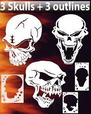Skull Triple Set #3 Airbrush Stencil Spray Vision Template air brush