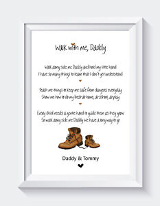 Personalised Fathers Day Gifts Daddy Son Poem Unframed Print ONLY
