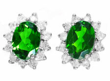2.50ct KILATES CROMO diaopside & Diamante Pendientes en 14k ORO BLANCO