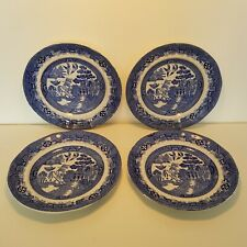 More details for vintage w adams & sons warranted staffordshire tunstall blue white willow plates