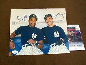 DON MATTINGLY DAVE WINFIELD NEW YORK YANKEES SIGNED AUTO VTG COLOR PHOTO JSA