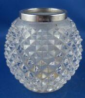 kleine Vase schön geschliffen mit Silbermontur Emil Hermann 800er Silber
