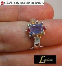 2.29 ct BLUE VIOLET TANZANITE & SAPPHIRES Silver Ring