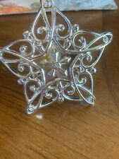 "Lenox Sparkle & Scroll Silverplate Snowflake Christmas Tree Ornament 4"" Across"