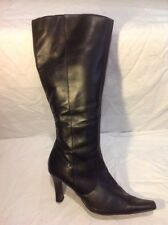 Ladies Black Knee High Leather Boots Size 7