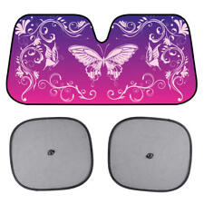 Purple Butterfly Auto Sun Shade Front Windshield Window Visor & 2x Mesh Shades