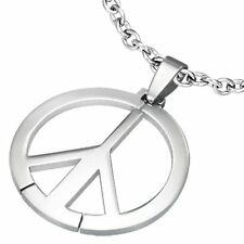Stainless Steel Peace Sign Charm Pendant with Chain TPB076