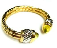 """CITRINE 14K YELLOW GOLD MADE IN ITALY WIDE CABLE BANGLE BRACELET 16.2 Gr 7"""""""