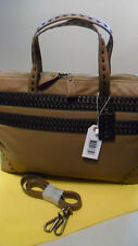"""New POON Switzerland """"Olive"""" Leather Handbag in Cappuccino and Brown"""