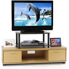 Small Entertainment Center TV Stand For Flat Screens With Storage AV Rack Shelf