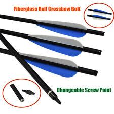 "12X 16/18/20/22"" Fiberglass Roll Crossbow Bolt Changeable Point 4"" Blue Vane"