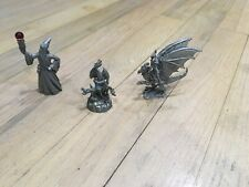 Vintage Gallo Pewter Figurines Lot Of (3) Wizard And Dragons