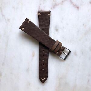 20mm Handmade Dark Brown Vintage Distressed Genuine Leather Watch Strap Band
