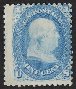 US Sc# 63 *MINT OG H* { 1c B. FRANKLIN } BEAUT ISSUE OF 1861 SERIES CV$ 350.00