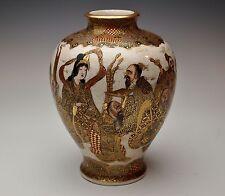 GORGEOUS ANTIQUE JAPANESE 1800s SATSUMA VASE Sages Meiji Kimono Gold Signed