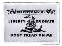 DON'T TREAD ON ME CULPEPER FLAG PATCH AMERICAN WHITE EMBROIDERED IRON-ON GADSDEN