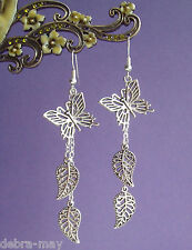 Pretty Filigree Butterfly & Leaves Long Dangly Earrings