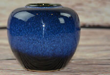 VTG VASE COBALT BLUE WHITE GLAZED ART POTTERY WHEEL MID CENTURY OMC JAPAN 4.5""