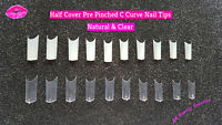 500x Pre Pinched C Curve HALF COVER False Nail Tips Straight Square - UK SELLER