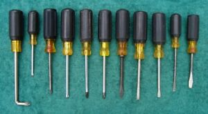 Lot of 11 Cushion-Grip Screwdrivers – KLEIN, AMALITE, & BRIDGEPORT (Made in USA)