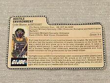 1985 Hostile Environment Airtight GI Joe File Card Vintage Action Figure
