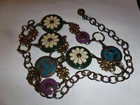 "Vintage Hippie Bronze Metal Flower-Peace-Heart Link Belt 38"""