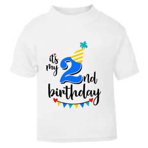 It's My 2nd Second Birthday Children's Kids T-Shirt T Shirt Boys Cake Smash NEW