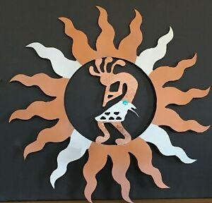 """KOKOPELLI SUN 16"""" Metal Wall Art SW Indoor/Outdoor Metalic Copper & Silver"""