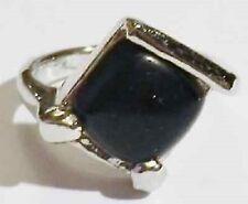 bague couleur argent pierre naturelle essentielle noir T 49 * 5095