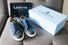 NEW Lanvin Men's Royal Blue Suede Patent Cap Toe Sneakers SZ US 9 / UK 8
