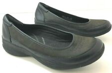 CLARKS Womens 7M In Motion Alta Black Green Leather Loafers Shoes