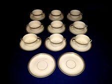Antique Heinrich H and Co. Selb Cream Soup Bowls & Saucers (9 Sets) ~ Bavaria