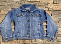 Unisex Levi's Denim 100% Cotton Blue Jean Trucker Button Jacket Boys Girls Sm 7