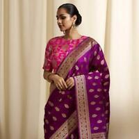 Traditional Indian jacquard silk saree blouse party wear ethnic wedding sari