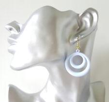 Pretty 4cm long pastel blue lightweight acrylic -plastic hoop drop earrings