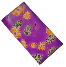 Genuine Leather Check Book Cover,Hawaii Scenery Pattern on Both Side, Purple