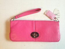 Womens Pink Leather Clutch Purse