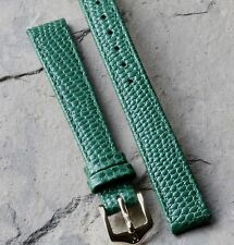 Green lizard print leather 12mm water-resistant vintage watch band 1960s/70s NOS